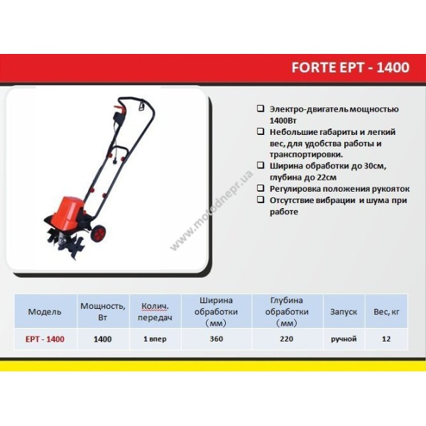 Культиватор электрический FORTE ЕРТ-1400